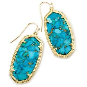 KS Elle Drop Earrings in Bronze Veined Turquoise